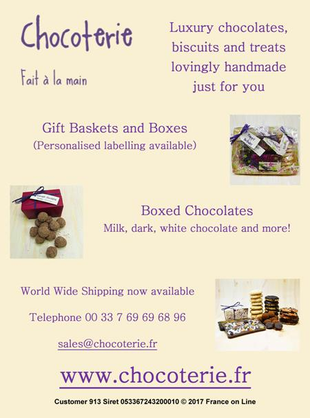 Chocoterie,luxury chocolates,biscuits,treats,handmade,gift baskets,gift boxes,personalised labelling,boxes of chocolates,milk,dark,white,world wide shipping,Dordogne,France